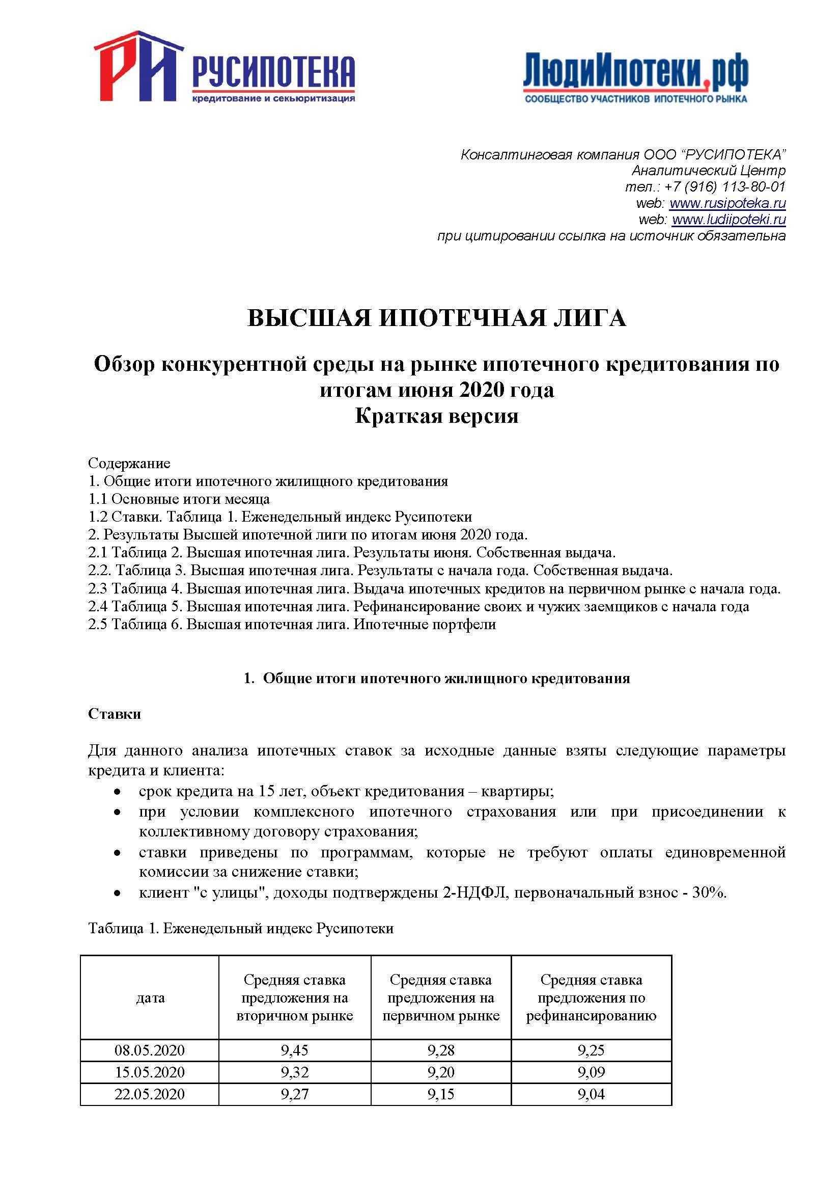 Обзор конкурентной среды на рынке ипотечного кредитования по итогам июня 2020 года (краткая версия)